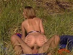 Sinful Blonde Babe Petra Short Gets Her Tight Pussy Fucked Outdoors