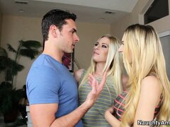 Natalia Starr invites a girlfriend over to share a rock hard cock