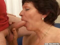 Petite granny is lucky to get a nice fuck by a younger dude!