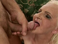 Blonde granny Marianne blows and gets her old snatch fucked hard