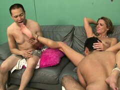 Blonde slut forces her man to watch as she...