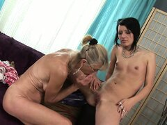Granny likes fresh meat and gets this young brunette to lick her snatch