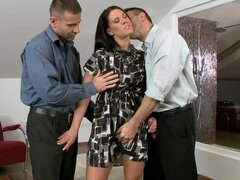 Brunette in anal threesome porn