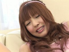 Tremendous cock sucker Rika Sakurai wants to fill her small mouth full with cum