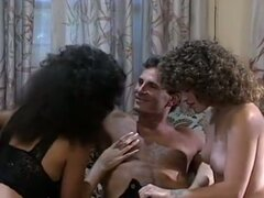 Retro reality show with threesome fuck