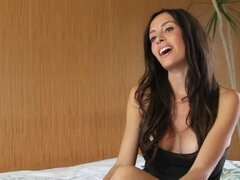 Aurora Maria gives an interview and shows her cute body