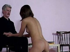 Attractive brunette gal got pumped by dirty old fart