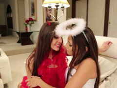 Devil vs angel. Celeste Star and her horny girlfriend kissing