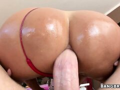 Horny brunette MILF gets her oiled ass drilled for more and a cumshot