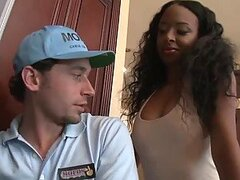 Hot Ebony Gets Banged By Horny Cable Guy In Steamy Interracial Video