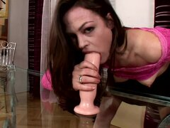 Sensual babe Leona Queen being fucked by dildo