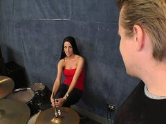 Kortney Kane gets naked and sucks cock at the jam with the drummer