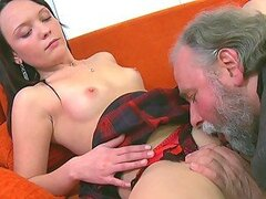 Old freak and hot young chick Sveta in threesome
