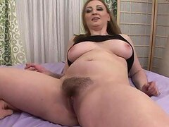 Naturally Busty Blonde Chokes On A Cock Before Getting Her Hairy Pussy Creampied