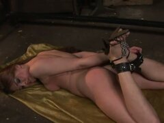 Helpless brunette slave submitted by horny mistress