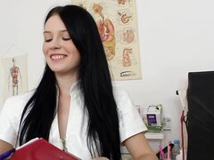 Young nurse in boots has perfect tits