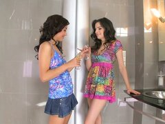 Lesbian Scene In A Restroom With Ann Marie La Sante And Melon