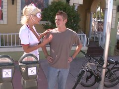 Slutty nurse Puma Swede picks up a stranger on a street and fucks him in a truck