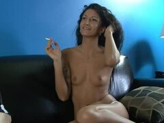 Leggy Latina milf with tiny tits having a nice smoke