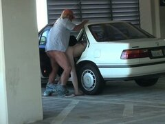 Hot blonde bitch is fucked by kinky geezer in parking lot