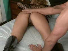 Short-haired curly blonde slut gets her backdoor some dick