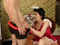 Teen Cock Gives a Naughty New Year Fucking to a Horny Granny