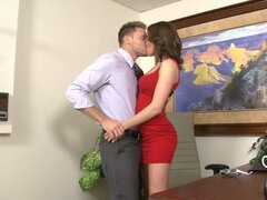 Whorable secretary Jasmine Wolff is fully absorbed with sucking a cock