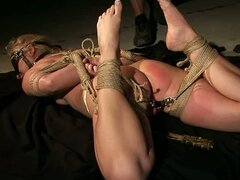 Rough Toying and Bondage Action for Blonde in Nasty BDSM Video