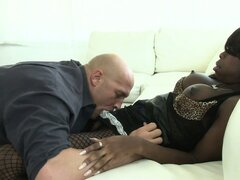 Ebony shemale gets her cock sucked and returns the favor before fucking