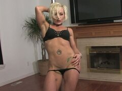 Buff blonde pole dances and masturbates in hd
