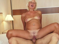 He cums in old lady mouth