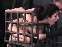 Locked in the cage girl gets her anus fucked