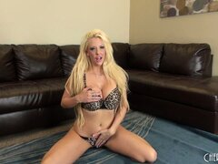 Sexy blonde Courtney Taylor poses in her underwear and chats live