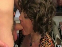 Young dude gets sucked and fucked by mature milf