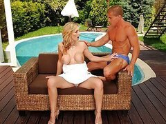 Tanya Tate is a housewife and is also a cougar on the prowl, and she is looking for a young cub when she goes out. So she's in the garden with her new catch, the cub Matt. She goes all out and gets the hot sex she's been craving ever since she started to