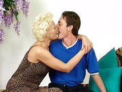 Experiences blonde German MILF in stockings