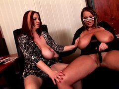 Joanna Bliss and Laura Orsolya are playing in the office