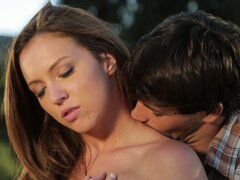 Cute teenage couple make sweet love out...