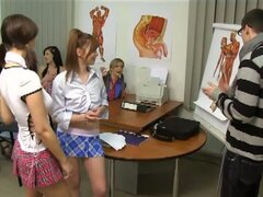 Cfnm teen schoolgirls suck and fuck their teacher
