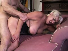 This horny dude bends granny over like a bitch and fucks her hard