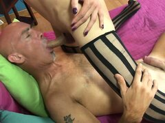 Asian shemale prostitute in stockings rides a hot boner up her ass