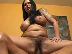 Mature sits hairy pussy on his big cock
