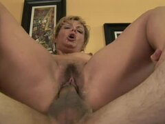 Horny MILF with hairy pussy gets fucked and jizzed on