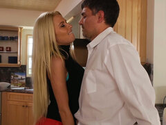 Lustful housewife Riley Evans husband kitchen