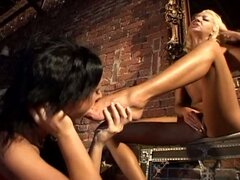 Extreme hardcore sex-foot fetish two lesbian babe get toyed into pussy