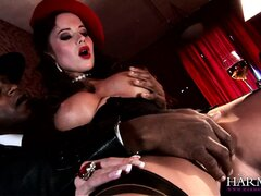 Burlesque babes getting their beautiful faces fucked by a hung black man