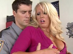 Cop and huge fake tits milf have anal sex