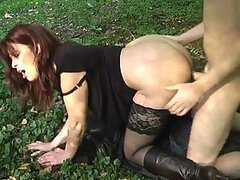 Sexy milf in boots fucked outdoors