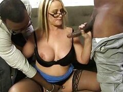 Blonde cougar Dee Siren in interracial gangbang