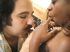 Black bitch Tamia is fucked by an old mothefucker Ron Jeremy. Hot video